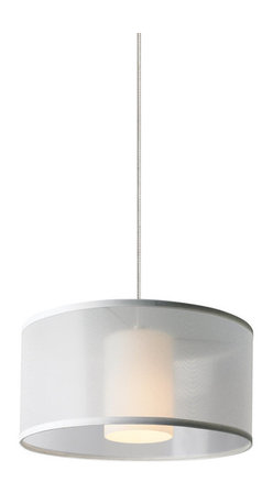 Tech Lighting - MOMini Dillon Pnd WH, sn - Translucent organza drum with inner glass cylinder to provide a soft wash of light. Includes lowvoltage, 50 watt halogen bipin lamp or 6 watt replaceable LED module and six feet of fieldcuttable suspension cable.