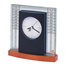 BULOVA - Bulova Frank Lloyd Wright Clocks Glasner House Table Clock Model B7750 - This decorative table clock features: