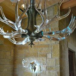 Crystal Antler Chandelier - Hand sculpted glass and bronze fine art chandelier.