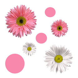 York Wallcoverings - Flower Power Daisy 25pc Self-Stick Wall Accent Stickers Set - Features: