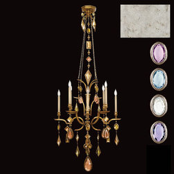Fine Art Lamps - Encased Gems Eight-Light Chandelier in Silver Leaf Finish with Multi-Colored Cry - Chandelier in vintage silver leaf finish with multi-colored crystal gems of amethyst, tourmaline, and aquamarine colors. 2' decorative chain included.  - Cast metal and colored crystal / special process, proprietary secret  - Gold, Silver, Bronze  - 3 crystal configurations / Multicolored, Neutral, Clear  - Chain length (ft): 2  - Bulbs not included  - Made in USA  - Fine Art Lamps is world-renowned for original, elegant lighting designs favored by discerning designers, architects, consumers, and luxury homebuilders. Exquisite finishes are the company's hallmark, and many finishes take countless steps to achieve the desired effect. Each finish is handcrafted making it a one-of-a-kind work of art. Fine Art Lamps - 725440-1ST