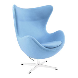 East End Imports - Glove Wool Lounge Chair in Baby Blue - The Glove Chair provides evidence of movement in design to adapt more organic forms into our living spaces. Designed to remind us of the natural world, this chair provides sheer comfort and relaxation. Get back to nature with the Glove Chair.