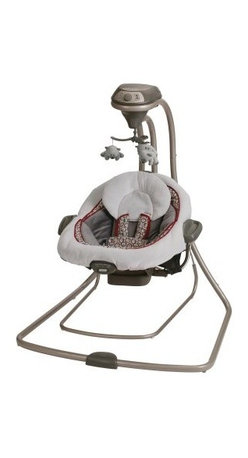 Graco DuetConnect Swing LX - Finley - Your baby will love swinging gently in the comfortable Graco DuetConnect Swing LX - Finley. Able to double as a bouncer so you have the flexibility to move around the house while keeping your baby nearby you'll love that you don't have to continually disturb your baby when you need to go into a different room. Complete with six different swing settings 10 melodies five nature sounds two vibration settings and a mobile with three toys you'll be able to find the perfect combination to soothe and entertain your little one. You also have the option of plugging this swing directly into the wall or using batteries if it's more convenient. About GracoWhen Russell Gray and Robert Cone joined forces in 1942 baby products were not their focus. The pair originally formed Graco Metal Products in Philadelphia Penn. The firm manufactured machine and car parts for local manufacturers for 11 years. Gray left in 1953 leaving Cone as sole owner and Cone got the idea to manufacture baby products from a Graco employee David Saint father of 9. Inspired by the idea of Mrs. Saint soothing her babies on the backyard glider the Graco Swyngomatic was born. The Swyngomatic sold millions catapulting Graco to become a leader in manufacturing juvenile products in the process. Since then Graco has set the industry standard with products like the Pack N' Play and the Travel System. Graco is one of the world's best known and most trusted juvenile products companies. Product safety quality reliability and convenience are their main sources of pride and are recognized by parents and parenting authorities alike.