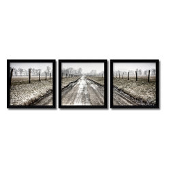 Amanti Art - Todd Ridge 'Picket Path Triptych- set of 3' Framed Art Print 13 x 13-inch Each - In Picket Path by Todd Ridge a well travelled country road goes off into the distance. Overall size of this triptych measures 38\' x 12\' with a 1\' gap between each pane.