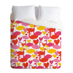 DENY Designs - Zoe Wodarz Flamingo Loves Duvet Cover - Turn your basic, boring down comforter into the super stylish focal point of your bedroom. Our Luxe Duvet is made from a heavy-weight luxurious woven polyester with a 50% cotton/50% polyester cream bottom. It also includes a hidden zipper with interior corner ties to secure your comforter. it's comfy, fade-resistant, and custom printed for each and every customer.