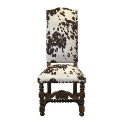 Faux Cow Hide Chair - Vintage-style hall/dining chair has been transformed with new faux cowhide upholstery fabric. It looks like the real thing! Detailed with brads. Makes a stunning accent piece in the home!