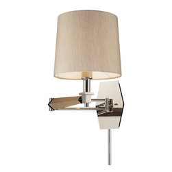 Elk Lighting - Elk Lighting 31332/1 Jorgenson 1 Light Swingarm Sconce in Taupe Wood & Polished - 1 Light Swingarm Sconce in Taupe Wood & Polished Nickel belongs to Jorgenson Collection by Elk Lighting The Jorgenson Collection Stylishly Bridges The Gap Between Mid-Century Modern Furniture Design And Lighting.��_��__ This Collection Was Designed Using Solid Wood That Emulates The Tapered Angle Of Fine Furniture Legs And Angular Metalwork That Compliments Its Sleek Style.��_��__ Choose Between Two Combinations Of Taupe Wood, Polished Nickel Metalwork And Champagne Fabric Shades, Or Mahogany Finished Wood, Satin Brass Metalwork And Tan Crosshatch Textured Linen Shades. Sconce (1)