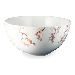 Ink Dish - Cherry Ink 10-inch Serving Bowl by Paul Timman - This elegant serving bowl would surely delight your guests regardless of its contents. However, there's no doubt an Asian-themed dish would be appropriate given the traditional Japanese motif. The design reflects a traditional style of tattoo art known as Sumi, and brings spring to life with elegant hues of pink and purple.