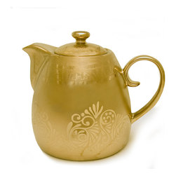 Everybody's Ayurveda - Porcelain Tea Pot in Gold On Gold Tone - Teaveda Tea Pot. Porcelain. Matte gold with shiny gold leaf toned pattern. Made in China. Approximately 24 oz capacity.Package Includes:Tea Pot OnlyDimensions:Length: 5 inch