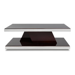 Zuri Furniture - Tribeca Wood and Mirrored Chrome Coffee Table - Crafted with dark ebony wood and high gloss finish, the Tribeca Coffee Table is a perfect match for any high-end contemporary living space. The two-tier design is finished with a hint of chrome edging creating a subtle visual detail atop hardwood or carpeted flooring.