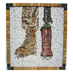 "Walking The Walk Mosaic Art - I use this ancient medium to create 21st century imagery. Walking the Walk is made from micro mosaic tile (3/8""), swarovsky crystals and marble. 19.75"" x 17.75"" in dimension, Walking the Walk is a poignant piece, meant to reflect the state of affairs we live in today. It is framed in marble and ready to hang."
