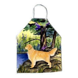 Caroline's Treasures - Golden Retriever Apron SS8426APRON - Apron, Bib Style, 27 in H x 31 in W; 100 percent  Ultra Spun Poly, White, braided nylon tie straps, sewn cloth neckband. These bib style aprons are not just for cooking - they are also great for cleaning, gardening, art projects, and other activities, too!