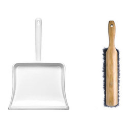 Enamelware Dustpan & Hand Broom - This enamelware dustpan is made of metal coated with a sturdy, glossy porcelain enamel. Paired with the wood and horsehair broom, these hard-working tools will keep things tidy in your home for many years.