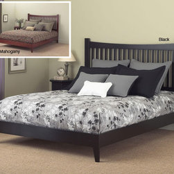 Fashion Bed Group - Jakarta King Size Platform Bed - Choose this king-sized platform bed to add a touch of the Orient to your bedroom. The bed features an elegant design with a gently sloping headboard and tapered legs to complete the look. The bed can be used without additional box springs.