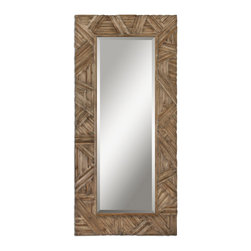 """Uttermost - Tehama Light Walnut Mirror, Wood Frame Finish, Antiqued Light Walnut, Large - Majestic In Height, This Mirror Features A Wood Frame Finished In Antiqued Light Walnut With Burnished Details. Mirror Features A Generous 1 1/4"""" Bevel. May Be Hung Either Horizontal Or Vertical."""