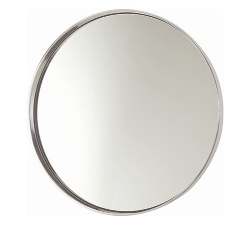 Arteriors - Arteriors Ollie Polished Aluminum Mirror - Round wall mirror with thin aluminum frame and a mirrored center.
