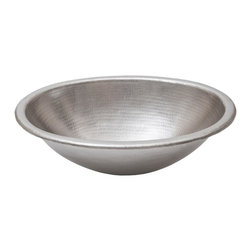 Premier Copper Products - 19 in. Oval Self Rimming Hammered Copper Bath - Configuration: Oval. Design: Hammered Copper Surface. Color: Electroless Nickel. Inner Dimension 17 in. x 12 in. x 6 in.. Outer Dimension: 19 in. x 14 in. x 6 in.. Installation Type: Self Rimming Surface-Mount. Rim: 1 in. Rolled Rim. Countertop Depth Minimum:17 in. Front to Back. Material Gauge: Industry Best (17 Gauge or .0450 in.). Drain Size: 1.5 in. Non-Overflow. Drain not included. Faucet Mounting: Counter Deck Mount. Hand Made. 100% Recyclable. Composition: 99.7% Pure Recycled Copper Plated with Electroless Nickel. Lead Free. Packaging: Recycled Cardboard Box. Warranty: Limited Lifetime. Care Instructions IncludedIntroducing the Premier Nickel Line. Now you can have the handcrafted beauty of copper with the modern look of steel. But these aren't just any Nickel Plated sinks; these are Premier Plated using a highly specialized Electroless Nickel Plating (ENP) process that provides both visual and functional durability. Why is Premier Nickel so much better? We use only Lead Free Electroless Nickel Plating (ENP) on our products. ENP is generally used for engineering application due to its properties, including: high wear resistance, high hardness, and corrosion protection. The deposit thickness (plating thickness) can be controlled very accurately only with ENP. The Lead Free nickel can be deposited uniformly throughout the sink when applied with ENP, which is critical to long term durability. This is a much more laborious and costly process, but is the only way to produce a truly uniform and durable Nickel Plated sink.