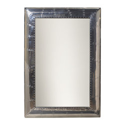 French Heritage - Large Ferault Mirror, Stainless Steel Finish - Riveting good looks evokes a vintage aircraft 'skin' feel. A complete, but chic break with tradition! - Weight: 66lbs