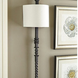 Ballard Designs - Cartagena Wall Sconce - Hand finished. With its intricate detailing and hand-rubbed rustic finish, our Cartagena Wall Sconce mimics the look of found vintage railing and brings a sophisticated architectural look to an entry or dining room. Substantial in size, it offers dramatic lighting warmly diffused by a curved half shade. Cartagena Wall Sconce features: .