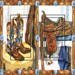 IdeaStix - Western Saddle&Boots Double Rocker Peel and Stick Switch Plate Cover - SwitchStix transforms an ordinary switch plate into beautiful art decorations.  Made from proprietary rubber-resin, Premium SwitchStix Peel and Stick Decor offers a quick and easy solution for decorating plain switch plates.  With features like water/heat/steam-resistant, nontoxic, washable, removable and reusable, it is ideal for any room in the house or office.  SwitchStix fits standard size switch plates and applies right over the switch plate and it even covers the screw holes.  Suitable for standard size non-porous and smooth switch plates.  Discard thin border around rocker switch.  Surface can be washed with most household cleaning products.