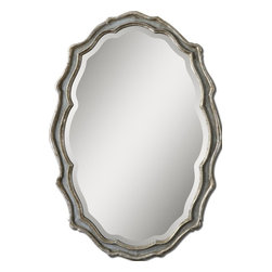 Uttermost - Uttermost 12832 Dorgali Oval MirrorGrace Feyock Collection - This curvaceous mirror features a frame finished in aged, slate blue accented with antiqued silver leaf details and a light gray wash.