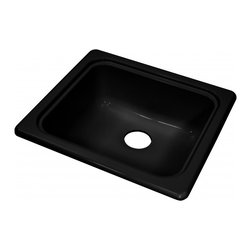 "Lyons - Lyons Deluxe DKS22F-3.5 Acrylic Kitchen Sink - Lyons Industries single Bowl Black acrylic Recreational Vehicle-Motor Home sink with a 7"" deep bowl and a 3.5"" drain opening. This standard self rimming 18""X 20"" sink is easy to install. This sturdy sink has durable easy to clean high gloss acrylic construction with a fiberglass reinforced insulation backer. This sink is quiet and provides a superior heat retention than other sink materials meaning your water stays warm longer. Lyons sinks come with a simple mounting tab and clip system to firmly fasten the sink to the countertop and reinforced drain areas. Detailed installation instructions include the cut-out specifications. Lyons sinks are proudly Made in America by experienced artisans supporting our economy."