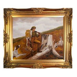 overstockArt.com - Homer - Huntsman and Dogs Oil Painting - One of Winslow Homer's famous images, Huntsman and Dogs , is a captivating view of a young boy tracking the land and packing his trophies. Originally created in 1891, today it has been hand painted on canvas, color for color and detail for detail. An American landscape painter, best known for his marine subjects. He was largely self-taught and is considered one of the foremost painters in 19th century America. Enjoy his rich and beautiful imagery captured in a hand oil painting. This image is sure to gain admirers.