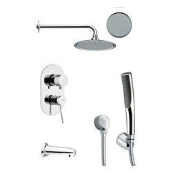 Remer - Sleek Round Chrome Tub and Shower Faucet with Handheld Shower - Single function tub and shower faucet.