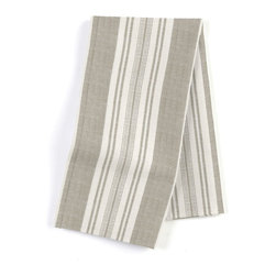 Gray & Ivory Handwoven Stripe Custom Napkin Set - Our Custom Napkins are sure to round out the perfect table setting - whether you're looking to liven up the kitchen or wow your next dinner party. We love it in this handwoven cotton feedsack stripe in gray that will take your rustic space from shabby to chic.