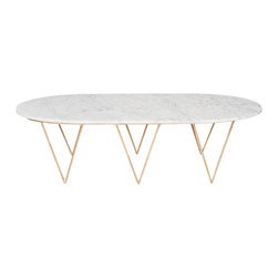 Worlds Away - Worlds Away Gold Leafed Coffee Table with White Marble SURF GW - Oval hairpin coffee table in gold leaf with white marble top.