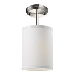 """One Light Brushed Nickel White Linen Shade Drum Shade Semi-Flush Mount - Add a modern accent to your room with the Albion family.  The mini semi flush is ideal to pop accent light into a small area.  This mini semi flush drum shade is covered in a finely textured white linen fabric with a finished edge trim detail.  This fixture is finished in brushed nickel and comes with one 4 1/2"""" rod for a semi flush mount."""
