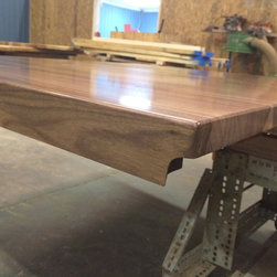 "Walnut Butcher Block Island Top - 1.5"" thick edge grain walnut kitchen island top with a 1.5"" thick built up edge to look 3"" thick. Doing this with a Rohl farmhouse sink is not that easy but our great fabricators made it fit like a glove."