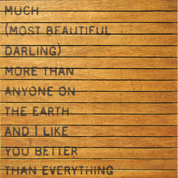 Kathy Kuo Home - I Love You So Much' Slatted Wood Distressed Wall Art - Move earth and sky to get an individual look in your rooms. This large wall hanging will help. The quote is a bold and loving testament to your darling, printed on distressed and reclaimed wood in a warm, natural finish so no two are exactly alike.