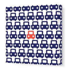 "Avalisa - Things That Go - Auto Pattern Stretched Wall Art, 28"" x 28"", Navy Red - Feel free to toot your own horn about this design statement. The sleek look of stretched canvas and a cool, clever pattern are sure to bring a smile wherever you hang it."