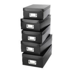 "Whitmor - Organizer Boxes Set Of 5 - Boxes of all sizes are required for desk organization - These are great for organizing extra supplies and project paraphernalia as well as media and pictures.  Great for trip documents and memories. The black is a classic white is also available while supplies last. All have a metal label holder. Plastic. 11.75""L x 7.25""W x 3.75""H"