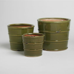 Tag Everyday - Terracotta Glazed Planters - Set of 3 - Green - Terracotta; rustic finish, drainage hole. Includes one small planter, one medium planter, and one large planter. Perfect for outdoor gardens and indoor areasColor: Green . Small: 4.5 in. H x 4.75 in. dia Medium: 5.5 in. H x 6.25 in. dia Large: 7 in. H x 7.75 in. dia