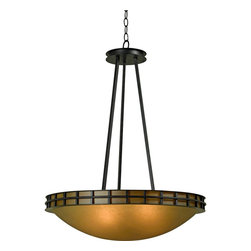 "Kenroy Home - Arts and Crafts - Mission Pane 25"" Wide Forged Graphite Pendant - Warm and handsome this pendant light is great for foyers and dining areas. Arts and crafts inspired this design features an inviting amber scavo glass bowl surrounded by a forged graphite gallery trim on the top. From the Pane Collection by Kenroy Home. Amber scavo glass bowl. Forged graphite. Five maximum 60 watt or equivalent bulbs (not included). 33"" high. 25"" wide.  Amber scavo glass bowl.  Forged graphite.  Five maximum 60 watt or equivalent bulbs (not included).  33"" high.  25"" wide."