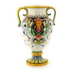 Artistica - Hand Made in Italy - Deruta Glt: Shaped Vase with Handles (Dec. 197) - Deruta Vario Collection: