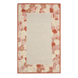 Safavieh - Safavieh Martha Stewart Contemporary Poppy Border Hand Tufted Wool Rug X-5-C9263 - Poppy Border is a whimsical yet sophisticated hand-tufted rug, with a cream-colored loop pile field framed with bands of cut-and-loop pile oriental poppies. Crafted in India of 100-percent wool, this rug is perfect for dining rooms and bedrooms, and coordinates with companion designs Poppy Field and Poppy Glossary.
