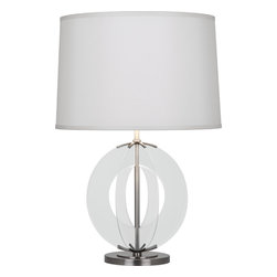 Robert Abbey - Latitude Table Lamp - Give your table lighting an upgrade with this sophisticated lamp with an innovative design. Glass discs spiral out from the metal frame, creating a beautiful reflection from the round shade. It's a look you'll love for your living room or foyer.