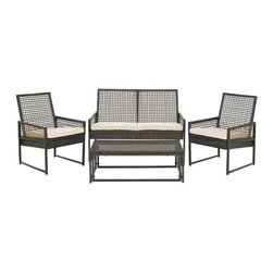 Weekend Gathering Outdoor Set - With the Weekend Gathering Outdoor Set, you may find yourself hosting more than you expected. The gorgeous set of two single chairs, double seat, and coffee table is perfect for weekend coffee catch ups and cocktail hours, all hosted in the garden. The sturdy aluminum is given a soft touch, with durable terylen upholstery. Dress up the coffee table with metal planters, and hang a bronze lantern above, for a welcoming industrial style that's at one with nature.