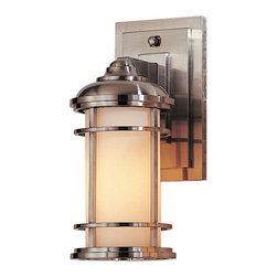 Feiss - Lighthouse Wall Mount Sconce in Brushed Steel - Handsome Lighthouse wall mount sconce is reminiscent of contemporary mission with a nod to the nautical.  Try this versatile fixture indoors or out and in damp locations.  It is finished in brushed steel complimented with etched opal glass.  Please note the backplate measures 4 1/2 W x 7 1/2H.   Feiss - OL2200BS