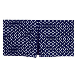 Allyson Brooke, Inc. - Classy, Contemporary Quatrefoil Cribskirt with 15 Inch Drop, Navy Blue - Tailored CRIB Dust Ruffle / Cribskirt in Navy Blue with Quatrefoil design in White. Made in the USA of 100% cotton with 15 Inch Drop Length. Machine Washable. This cribskirt is elegant and classy, yet sooo affordable! There is no need to purchase an entire bedding set for you nursery when you won't use all the components! And, no need to pay triple the price for a custom cribskirt! We make these from top quality, cotton fabric with a 15 inch drop (for when your crib mattress is in the lowest position.) This is longer than most crib dust ruffles on the market, and will give you a dust ruffle that is long enough to nearly touch the floor on most cribs - also allowing you valuable hidden storage space beneath the crib! This beautiful 4 sided Crib Dust Ruffle is pleated, with one pleat on each side, and one pleat on each end. Because it is 4 sided you can position your crib any way you choose! It looks beautiful from every angle!