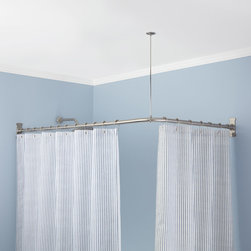 Corner Shower Curtain Rod - Enclose a built-in tub with a shower curtain with the Corner Shower Curtain Rod. This L-Shaped shower rod includes one ceiling support and extra-large wall flanges for a secure installation.