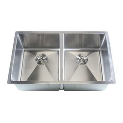 """Ariel - 32 Inch Stainless Steel Undermount 50/50 Double Bowl Kitchen Sink - 16 Gauge - Bring home the Ariel 50/50 double bowl kitchen sink to your modern kitchen. Handrafted from high quality heavy duty 16 gauge premium grade T-304 stainless steel. Dimensions 32"""" x 19"""" x 10""""."""