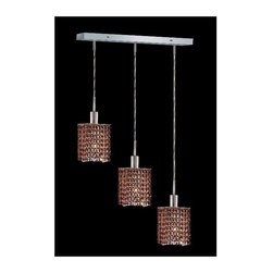 Elegant Lighting - Mini Topaz Crystal Pendant w 3 Lights in Chrome (Royal Cut) - Choose Crystal: Royal Cut. 3 ft. Chain/Wire Included. Bulbs not included. Crystal Color: Topaz (Brown). Chrome finish. Number of Bulbs: 3. Bulb Type: GU10. Bulb Wattage: 55. Max Wattage: 165. Voltage: 110V-125V. Assembly required. Meets UL & ULC Standards: Yes. 14.5 in. D x 8 to 48 in. H (8lbs.)Description of Crystal trim:Royal Cut, a combination of high quality lead free machine cut and machine polished crystals & full-lead machined-cut crystals..SPECTRA Swarovski, this breed of crystal offers maximum optical quality and radiance. Machined cut and polished, a Swarovski technician¢s strict production demands are applied to this lead free, high quality crystal.Strass Swarovski is an exercise in technical perfection, Swarovski ELEMENTS crystal meets all standards of perfection. It is original, flawless and brilliant, possessing lead oxide in excess of 39%. Made in Austria, each facet is perfectly cut and polished by machine to maintain optical purity and consistency. An invisible coating is applied at the end of the process to make the crystal easier to clean. While available in clear it can be specially ordered in a variety of colors.Not all trims are available on all models.