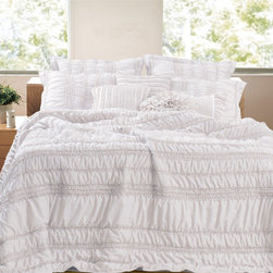 None - Tiana Country White 3-piece Quilt Set - Elegant and sophisticated, this romantic bedding set combines both ruffles and ruching. Oversized for better coverage on today's deeper mattresses this convenient and stylish set is prewashed and preshrunk.