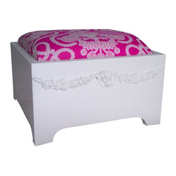 """Bella Swag Cushion Stepstool - The Bella Collection invites you to an age of romance. Romantic appliques of floral designs are featured on home products for the bed, bath, kitchen, and home. Hand applied and slightly distressed, the Bella Collection is the ultimate in vintage style decor. Our Emma swag cushioned stepstool features a soft cushion top with an adorable berry bouquet print. Perfect for your little one to make that step up.Order as shown or customize with selected fabrics and your favorite finish. Measures: 14""""W x 12""""L x 10""""H"""
