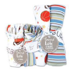 """Trend Lab - Bouquet Set - Little MVP - Bib & Burp Cloth - Keep messes to a minimum with this stylish Little MVP Bib and Burp Cloth Set by Trend Lab. Set includes four bibs and four burp cloths each with fun, modern printed cotton on the front and terry on the back. Bib and burp cloth patterns include: two with a sports scatter print featuring footballs, basketballs, baseballs, and soccer balls in little boy blue, avocado, misty blue, sage, chocolate, chili powder, sunset and white; one mini dot print in little boy blue, avocado, misty blue, sage, chocolate, chili powder, sunset and white; and one varsity stripe print in little boy blue, avocado, misty blue, sage, chocolate, chili powder, sunset and white. Each bib measures 9"""" x 13"""" with Velcro closure and each burp cloth measures 13"""" x 10"""". Coordinates with the Little MVP collection by Trend Lab."""