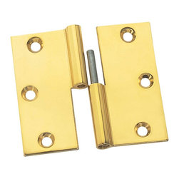 """Renovators Supply - Cabinet Hinges Bright Solid Brass Square 3 x 3"""" LOR Cabinet Hinge - We make our hinges from a solid block of brass for twice the thickness and strength of most hinges!  The wings are solid brass. Countersunk holes allow mounting screws to fit flush.  The baked-on finish is guaranteed against tarnish for 10 years of gleaming beauty.  The cylinder is precision-machined for a perfect fit and the stainless steel pin will never corrode or bind.  When the hinge is open flat it is 3"""" x 3"""". One pair of our medium size finials fit each hinge.  This is a right lift-off hinge (with the door opening toward you, the knob should be on the right side)."""